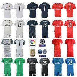 1e70a12c3 Real Madrid Goalkeeper GK La Liga 1 Keylor Navas Jersey Set Soccer 1 Iker  Casillas 13 Casilla Thibaut Courtois Football Shirt Kits Uniform