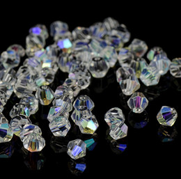 $enCountryForm.capitalKeyWord NZ - 500PCS lot White AB Bicone Austria Faceted Glass Crystal Spacer Beads charms For Jewelry Making 4mm 6mm 8mm