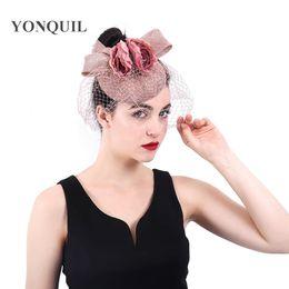257be174513 Peach headwear bow and flower hat fascinator wedding ladies days race Ascot  veils hats bridal married headdress fedora chapeau CAPS NSYF379