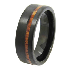 $enCountryForm.capitalKeyWord UK - Free Shipping 8mm Wholesales Black Brush Tungsten Carbide Ring with wood inlay Cool Fashion tungsten jewelry ring US size 4 to 17 big size