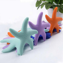 Discount baby teeth stick - Silicone Starfish Baby Molar Rod Chilld Chew Toys Bright Starts Teether Beads Kid's Molar Teeth Stick Safe Healthy