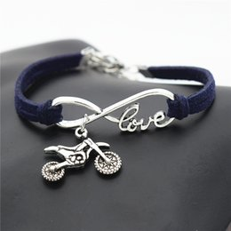 $enCountryForm.capitalKeyWord NZ - 2018 European Style Dark Navy Leather Rope Bracelets Bangles Metal Infinity Love Motorcycle Chain Women Men Multilayer Jewelry Wedding Party