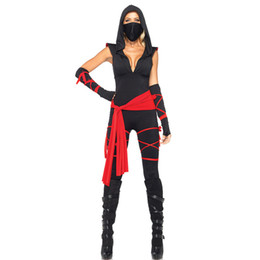 glove sleeveless UK - Halloween Anime Ninja Costume Cosplay Ninja Onesies Stage Costume Game Uniforms including Tops Pants Gloves Mouth-muffle