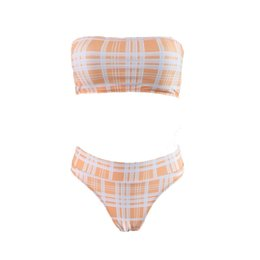 15f58b97507b5 New Bikinis Set Women Swimwear Plaid High Cut Push Up Paded Swimsuit  Strapless Women Beachwear Bathing Suit