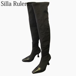 open leg sexy NZ - Silla Rulers 2018 New Autumn Sexy Ladies Stretch Over The Knee Boots Fashion Thin Leg Boots Women Black Square Toe Thigh