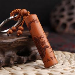 $enCountryForm.capitalKeyWord UK - Vintage Dragon Keychains Men Key Chain Car Key Holder Ring Jewelry Handmade Cylinder Pendant Wood Gift High End Keychain
