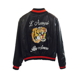 $enCountryForm.capitalKeyWord NZ - Fashion Faux Leather Bomber Jacket Women Tiger Head Embroidery Short Motorcycle Pu Leather Jacket Outerwear Womens Casaco