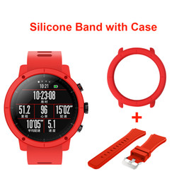 Discount band cases - New Silicone Watch Band Strap With Slim Case Frame for Xiaomi Huami Amazfit Strato Sports Watch 2 Wristband Full Protect