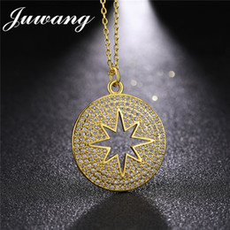 Discount gold star pendant men - JUWANG New Gold Color Round Star Pendant Necklace for Woman Man Fashion Micro Inlay Cubic Zirconia Fashion Jewelry Whole