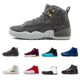 4af7a5e6d29d  with box  12 shoes Wool Dark Grey wool white Flu Game UNC Gym red taxi  gamma french blue Suede Casual Shoes SIZE 8-13