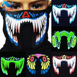 Discount glow party clothes - 4PCS LOT Halloween LED Masks Clothing Big Terror Masks Cold Light Helmet Fire Festival Party Glowing Dance Steady On Dri