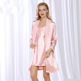 RS074 Sexy Lace Nightgowns Women Bathrobe Set Nighties Dress Long Sleeve  Robe Satin Silk Lingerie 2 Pieces Sets Female Sleepwear 6e5b9e0cb