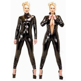 Black leotard zipper online shopping - Sexy Black Faux Leather Catsuit Gothic Fetish Costume Women Fantasia Front Zipper Jumpsuit Pole Dance Costume Stretchy Leotard CA
