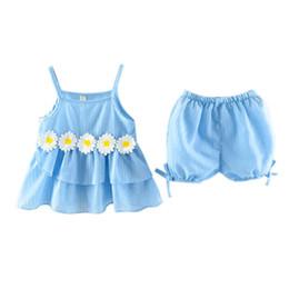 $enCountryForm.capitalKeyWord Australia - 2Pcs Summer Kids Toddler Baby Sets Sleeveless Chrysanthemum Vertical Striped Camisole Vest + Shorts Infant Girls Suits