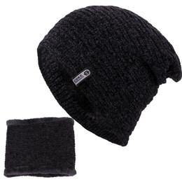 2f0c4549ba0268 2018 New knitting Beanie Hat Scarf Men's Winter Plaid Plus Velvet Scarf  Thicken Hedging Cap Scarves Warm Ski Bone