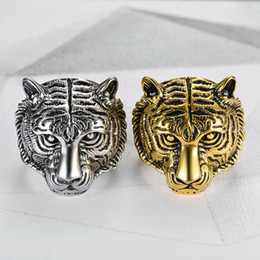 $enCountryForm.capitalKeyWord Canada - TOP 316L stainless steel hip-hop tiger head ring, men's personality, sheep's skull ring, vacuum plated gold, men's skull ring jewelry