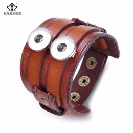 wide button bracelets NZ - ROYALBEIER Leather Cuff Double Wide Bracelet Rope Bangles for 18mm Snap Buttons Men Fashion Man Bracelet Unisex Jewelry Gift