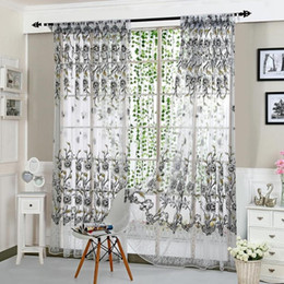 $enCountryForm.capitalKeyWord NZ - New Transparent Peony Printed Tulle Valances for Living Room Bedroom Home Indoor Window Screening Sheer Curtains