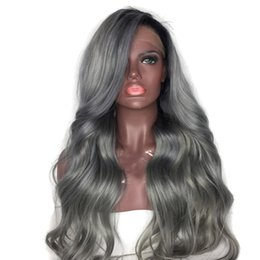 Grey woman hair wiGs online shopping - Ombre Grey Lace Front Human Hair Wigs For Women Brazilian Body Wave Virgin Hair Full Lace Grey Human Hair Wigs With Bleached Knots
