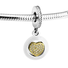884511160 Fits For Bracelets Signature Heart Beads with 14K Real Gold 100%  Sterling-Silver-Jewelry Charms Free Shipping