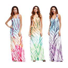 EvEning vEst online shopping - Women Sleeveless Vest Dress Colors Printed Beach Summer Dresses Long Slim Evening Dresses Casual Dresses Maternity Dress OOA5114