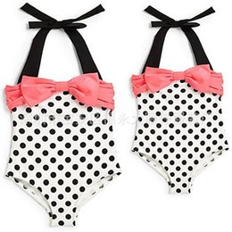 Swim wear babieS online shopping - Ins Baby girl Swim wear Sweet Dots Bow Swimsuit One piece Halter Kids Swimwear Beach clothing Summer years
