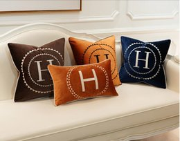 H Case UK - Luxury Embroidered Letter H Circle Pattern Signage H Comfortable Velvet Material Pillow Case Cushion Cover 45*45cm Family Fabric Decoration