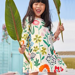 $enCountryForm.capitalKeyWord NZ - Kids Flowers Printed Princess Dress Long Sleeve Baby Girls Dress 2018 New Kids Tunic Jersey Dresses for Girls Clothes