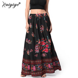 17d90ec613fd Ruiyige 2018 Women Summer Boho Floral Print Long Skirt Women Ethnic Beach  Party Maxi Ankle Length Skirt Female Vintage Vestidos S916