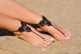 $enCountryForm.capitalKeyWord Australia - Crochet Black Shoes,Bridesmaid gift,Beach Wedding shoes,Summer shoes warmers Fashion Accessory, Black crochet Lace up Barefoot Sandal.