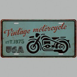 Tin Car Posters Australia - Motorcycle USA Vintage Metal Tin Signs Car Number License Plate Plaque Poster Bar Club Wall Garage Home Decoration