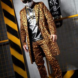 bf8aaae4735 S-5XL New men s clothing Yellow leopard grain long suit pants Nightclub Men  singer DJ DG stage costumes plus size formal dress