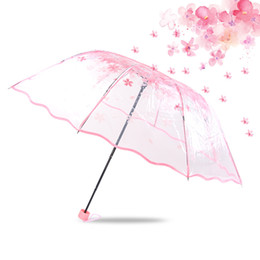 $enCountryForm.capitalKeyWord UK - Transparent Clear Umbrella Cherry Blossom Mushroom Apollo Sakura 3 Fold Umbrella for Women Lady Girls