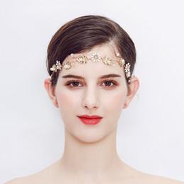 Gold Headbands NZ - Europe and America Style Gold Bride's Headband Pearl with Flowers Wedding Headwear Bride Handmade Ornaments Dress Hairband Accessories