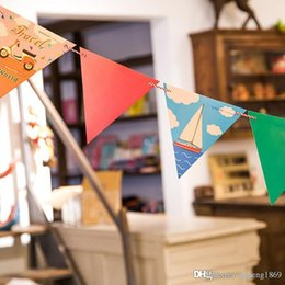 $enCountryForm.capitalKeyWord Canada - 12pcs set Resort style paper Children's day Flag hang Pennants wedding birthday Party Banner Shop photography Decorations flags