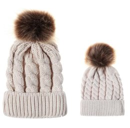 e270594a0733b4 Kids Girls Hats Mother Daughter Warm Knitted Hat Family Matching Children  Hats And Caps Winter pompom Hat Beanie Caps KKA6008