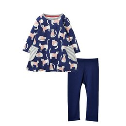 ChoColate Colour dresses online shopping - Baby Girl Pieces Suit Set Kids Girls Cat Pattern Long Sleeve Long Dress T Shirt With Solid Legging Tights Pants Child Clothing
