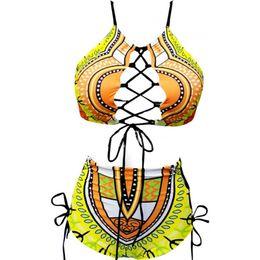 Two piece high waisT swimwear online shopping - Woman Swimsuit Swimwear Lady Bikini Femme Two Piece Suits Sexy High Waist Frenulum Large Size Printing Bandage ym V