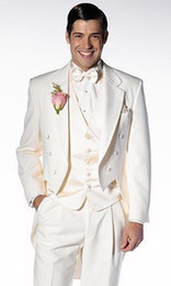 China High Quality Ivory Tailcoat Groom Tuxedos Groomsmen Notch Lapel Best Man Blazer Mens Wedding Suits (Jacket+Pants+Vest+Tie) H:719 cheap custom tailcoat tuxedos suppliers