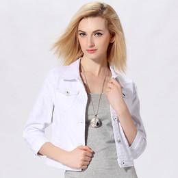 $enCountryForm.capitalKeyWord NZ - Denim Jacket Women Short Jeans Overcoat Ladies Jackets Tops Turn Down Female Slim White Black Jeans Top for Women Outerwear