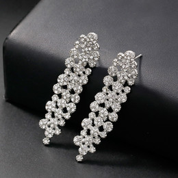 longest earrings NZ - Shining Fashion Crystals Earrings Rhinestones Long Drop Earring For Women Bridal Jewelry Wedding Gift For Bridesmaids BW-223