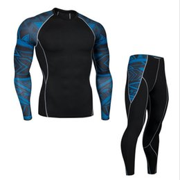 China 2018 Fitness Tight Sport Suit Men Long Sleeve Shirt +Pant Men's Running Set Compression Gym Clothing Quick Dry Men's Sportswear supplier running compression clothing suppliers
