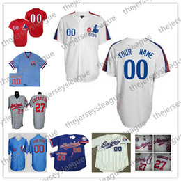 Wholesale Custom Montreal Expos Mens Womens Youth Gray White Royal Blue Pullover Stitched Any Name Any Number Cool Base Baseball Jerseys S XL