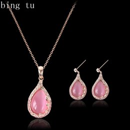 opal set jewellery Australia - Bing Tu Wedding Bridal Gift Jewelry Set Women's Girl's Gold Color Pink Opal Water Drop Earrings Necklace Costume Jewellery