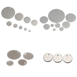 online shopping Circular Dog ID Tags Silver Round Stamping Making Component Pet Sipplies Smooth With Hole Stainless Steel Pendant Popular ls8 V