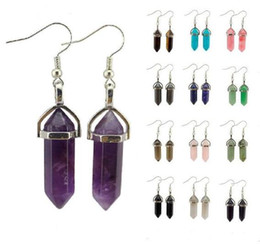$enCountryForm.capitalKeyWord Australia - Hexagonal Column Healing Natural Stone Charms Earrings Natural Crystal Quartz Healing Point Chakra Jewelry Bullet Shape Dangle Earrings