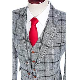 designs coat pant piece 2019 - Latest Coat Pant Designs Custom Made Grey Plaid Men Suits With Pants Formal Men 3 Piece Groom Wedding Suit Slim Fit Tuxe