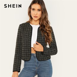 e20242b6ea SHEIN Black Office Lady Plaid Open Front Tweed Short Elegant Jacket Autumn  Workwear Modern Lady Women Coat Outerwear