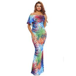 0e1613fb97 Fuera del hombro Maxi Vestidos Summer Holiday Party Azul marino Rosas  Imprimir Vestidos Vestido Festa Largo Robes Vestido Robe Longue Femme