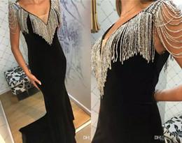 $enCountryForm.capitalKeyWord Australia - 2019 Mermaid Prom Dresses V Neck Luxury Beading Satin Sweep Train Slim Fit Evening Dress Party Wear Custom Made Plus Size Evening Gowns